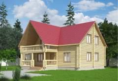Дом из оцилиндрованного бревна ОБ-23 (нажмите для увеличения)