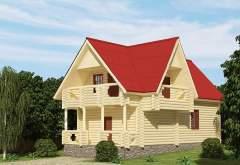 Дом из оцилиндрованного бревна ОБ-04 (нажмите для увеличения)