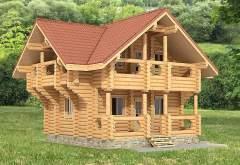 Двухэтажный дом для отдыха из кругляка ДК-127 (нажмите для увеличения)