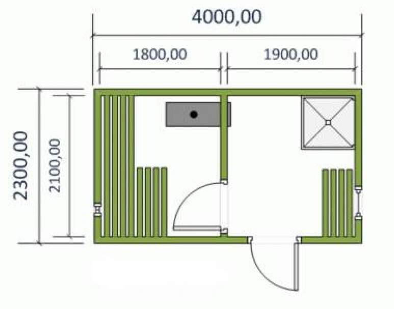 Готовая баня 4×2,23м (альтернативная планировка)
