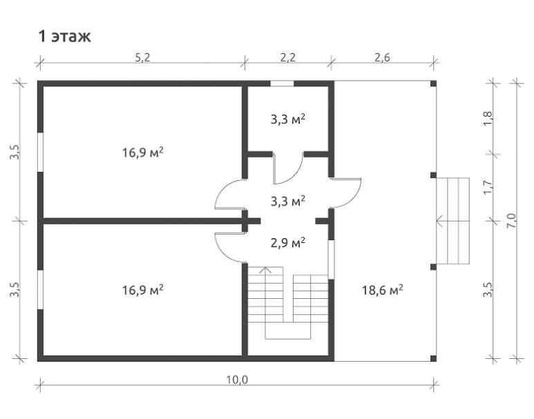 Дом из бруса КА-132 (нажмите для увеличения)