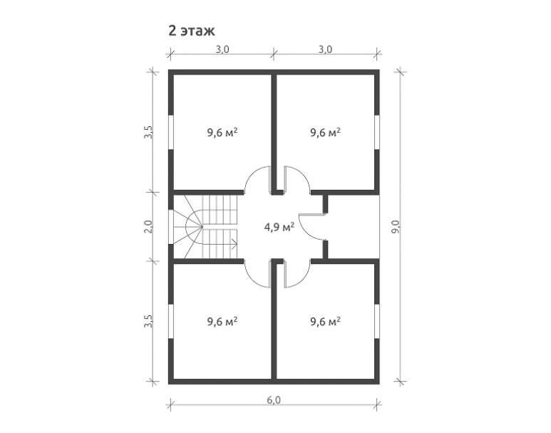 Двухэтажный дом из бруса KA-129 (нажмите для увеличения)
