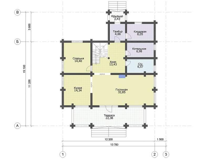 Дом из кругляка ДК-108 (нажмите для увеличения)