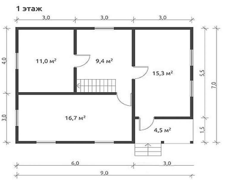 Дом из бруса КА-121 (нажмите для увеличения)