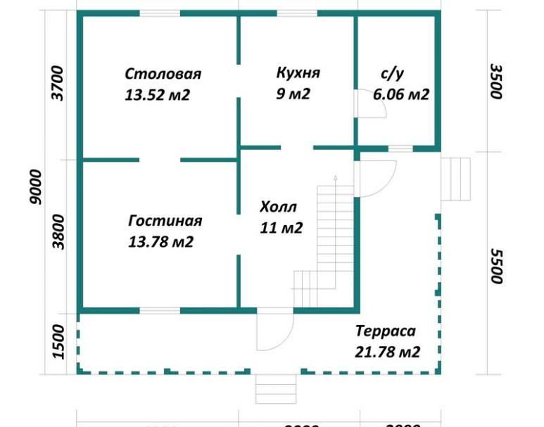 Каркасный дом АФК-102 (нажмите для увеличения)