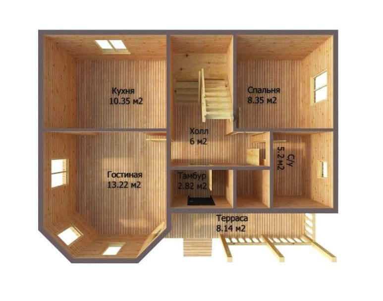 Каркасный дом АФК-103 (нажмите для увеличения)