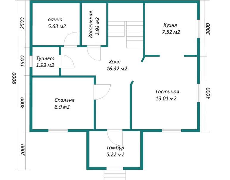 Каркасный дом АФК-106 (нажмите для увеличения)