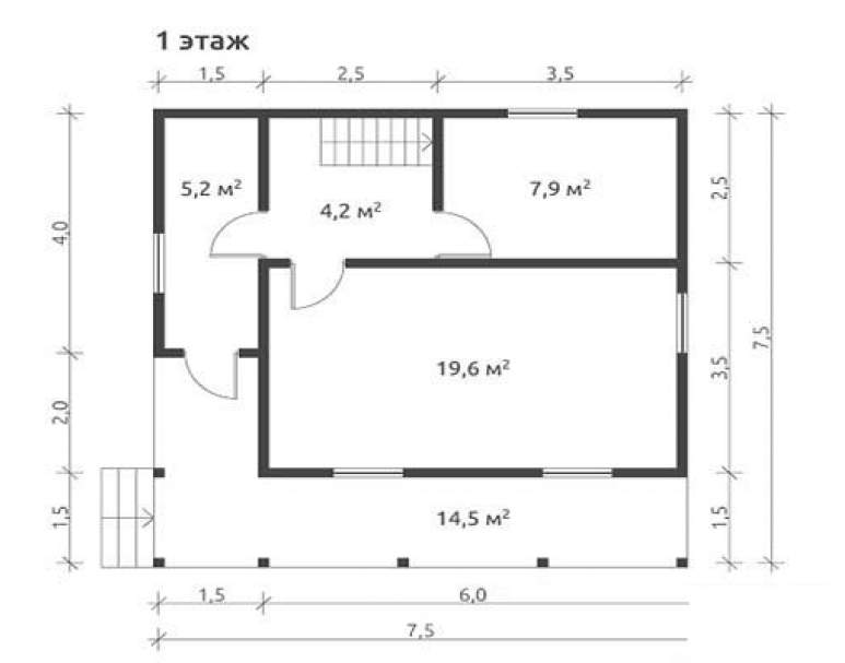 Дом из бруса КА-122 (нажмите для увеличения)