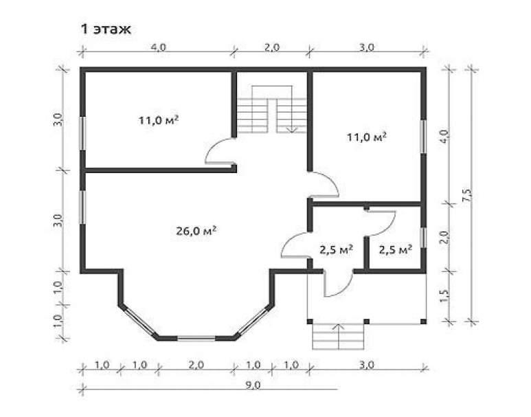 Дом из бруса КА-107 (нажмите для увеличения)
