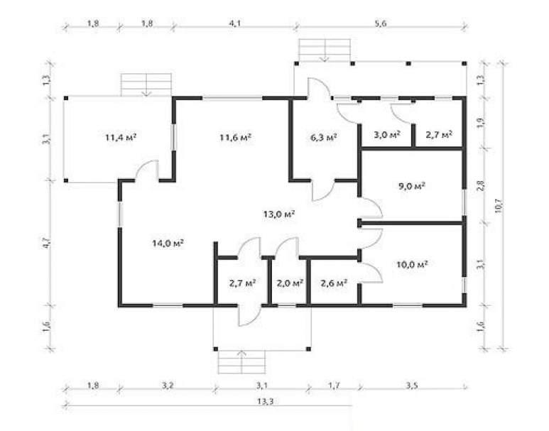 Дом из бруса КА-108 (нажмите для увеличения)