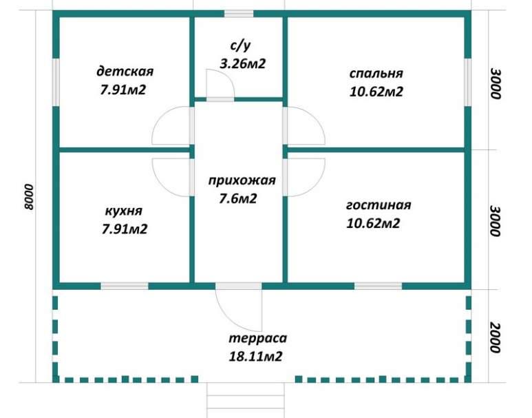 Каркасный дом АФК-113 (нажмите для увеличения)