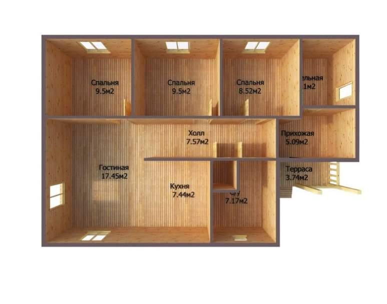 Каркасный дом АФК-115 (нажмите для увеличения)