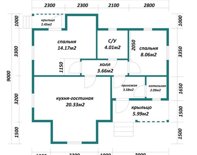 Каркасный дом АФК-117 (нажмите для увеличения)