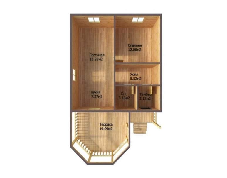 Каркасный дом АФК-121 (нажмите для увеличения)