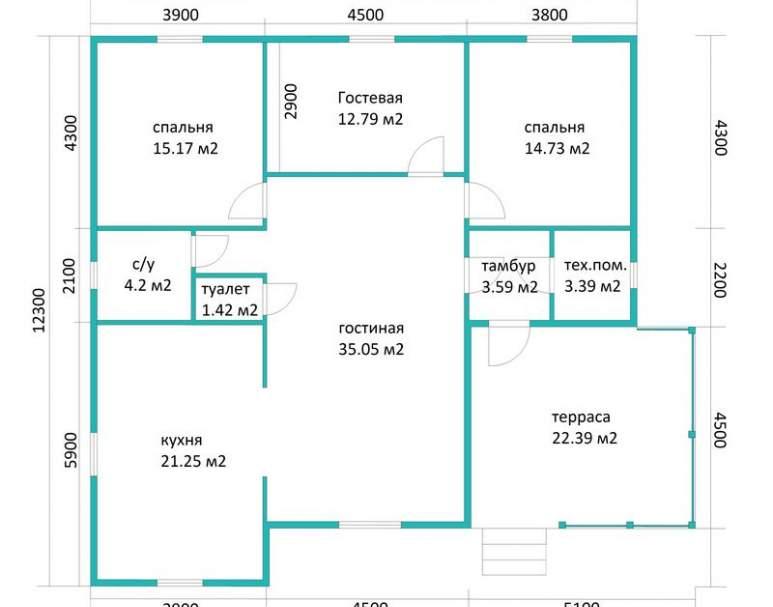 Каркасный дом АФК-126 (нажмите для увеличения)