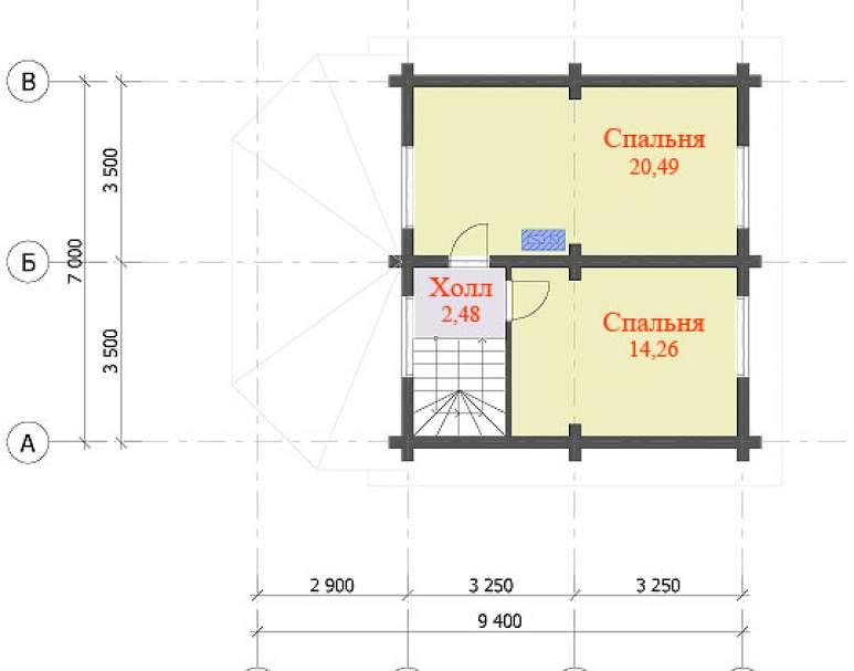 Двухэтажный дом с верандой ДК-107 (нажмите для увеличения)