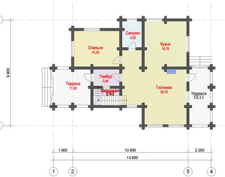 Дом из оцилиндрованного бруса ДК-114 (нажмите для увеличения)