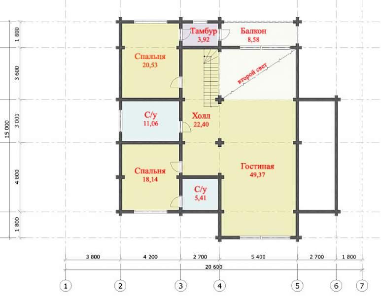 Дом из оцилиндрованного бревна ДК-116 (нажмите для увеличения)