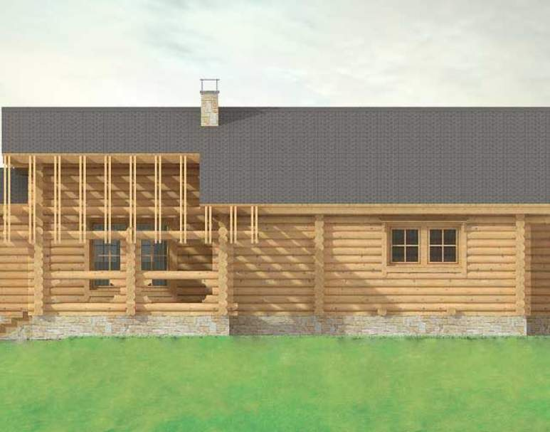 Дом с террасой из кругляка ДК-118 (нажмите для увеличения)
