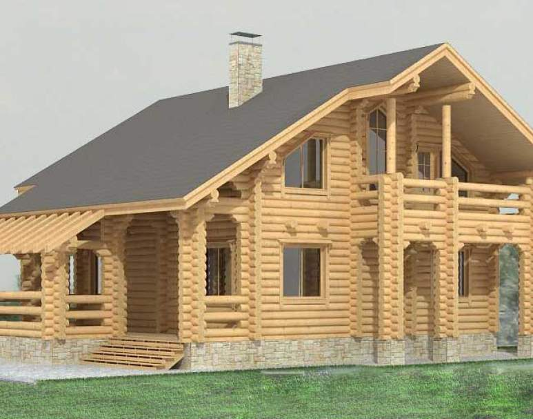 Дом с мансардой из бревна ДК-119 (нажмите для увеличения)