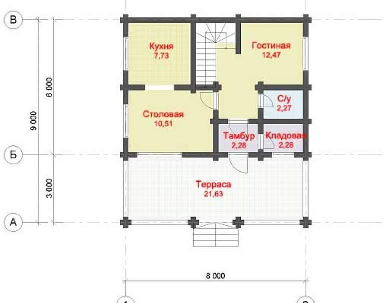 Дом из оцилиндрованного бруса ДК-120 (нажмите для увеличения)