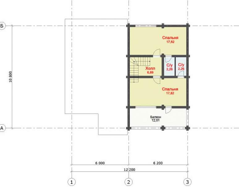 Дом с террасой из бревна ДК-121 (нажмите для увеличения)