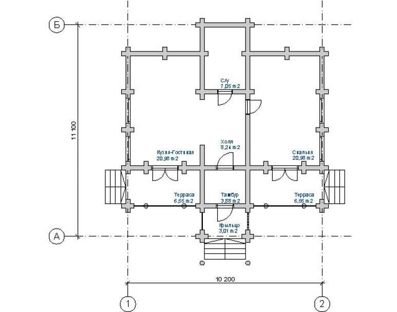 Дом из кругляка ДК-122 (нажмите для увеличения)