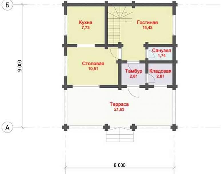 Дом из оцилиндрованного бруса ДК-123 (нажмите для увеличения)