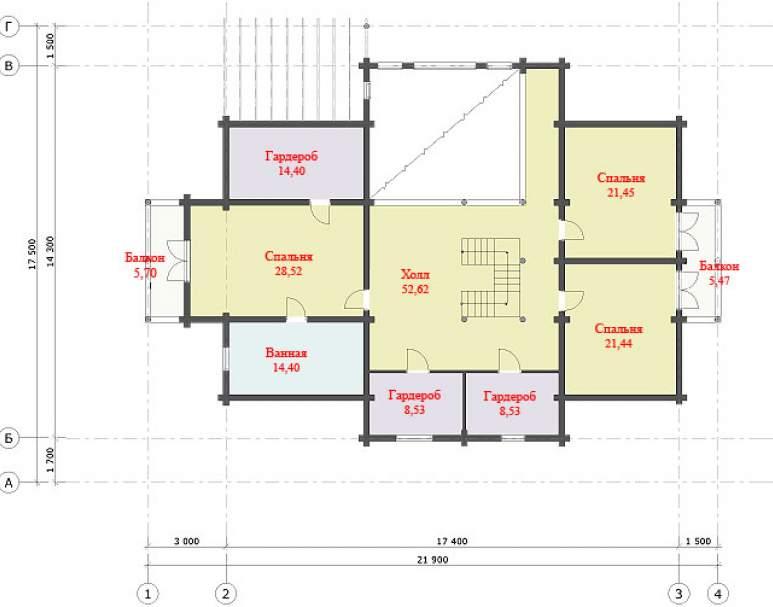 Дом из оцилиндрованного бревна ДК-124 (нажмите для увеличения)