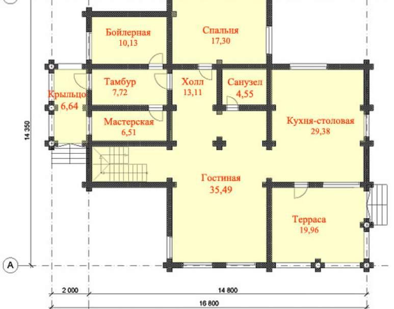 Дом из кругляка ДК-126 (нажмите для увеличения)