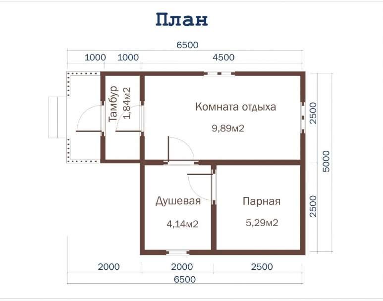 Баня из бруса ББ-11 (6,5×5) (нажмите для увеличения)