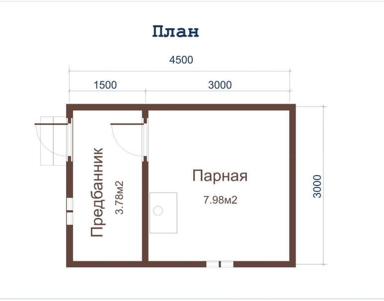 Баня из бруса ББ-01 (3×4,5) (нажмите для увеличения)