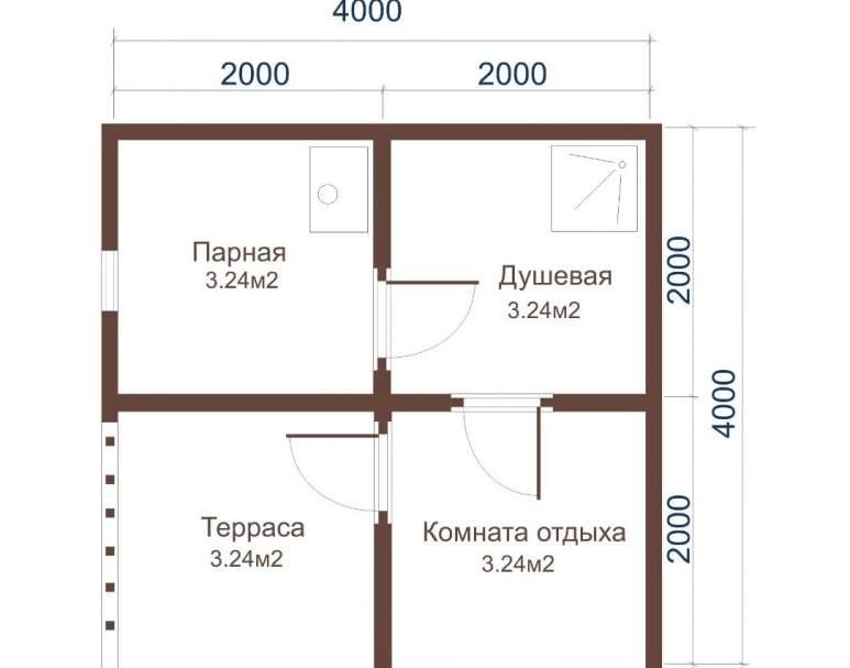 Баня из бруса ББ-02 (4×4) (нажмите для увеличения)