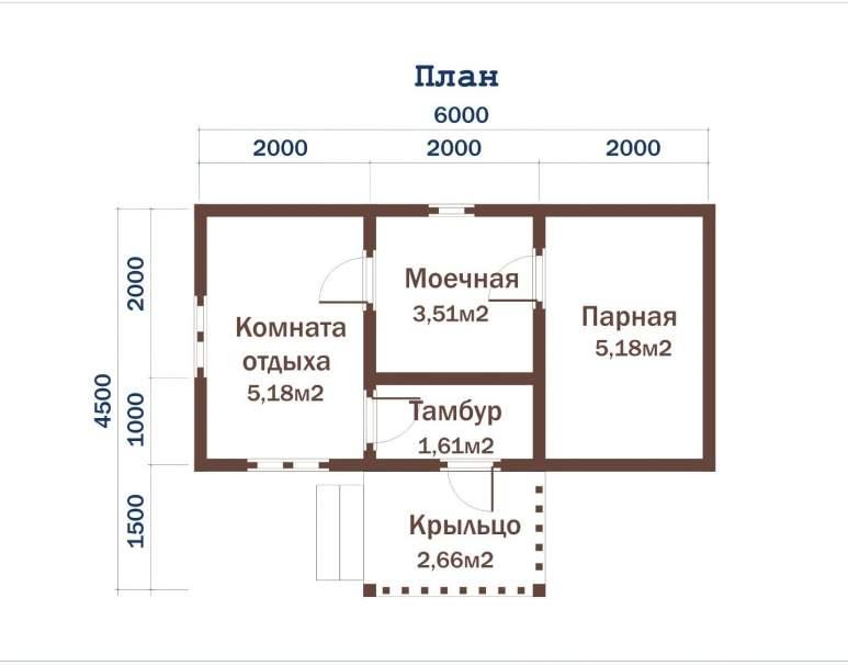 Баня из бруса ББ-05 (4×6) (нажмите для увеличения)