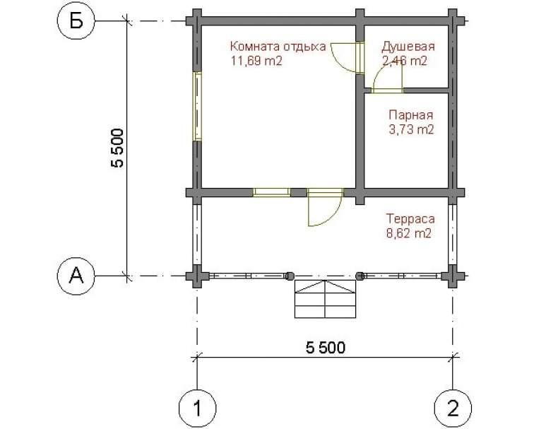 Классическая баня с террасой СБ-113 (нажмите для увеличения)