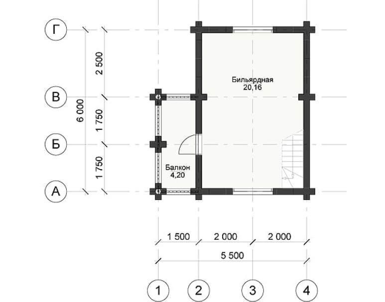 Двухэтажная баня из бревна СБ-109 (нажмите для увеличения)