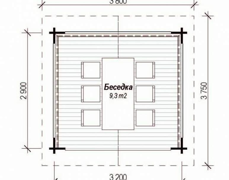 Беседка БД-09 (2.9х3.2) (нажмите для увеличения)