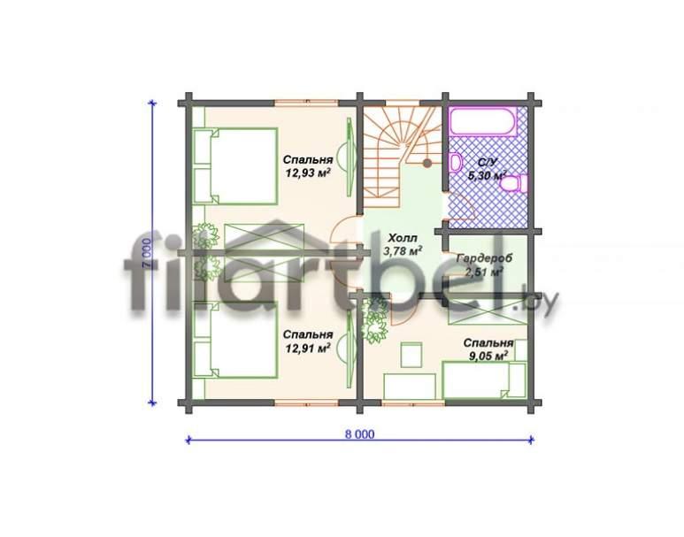 Дом из бруса БД-02 (нажмите для увеличения)