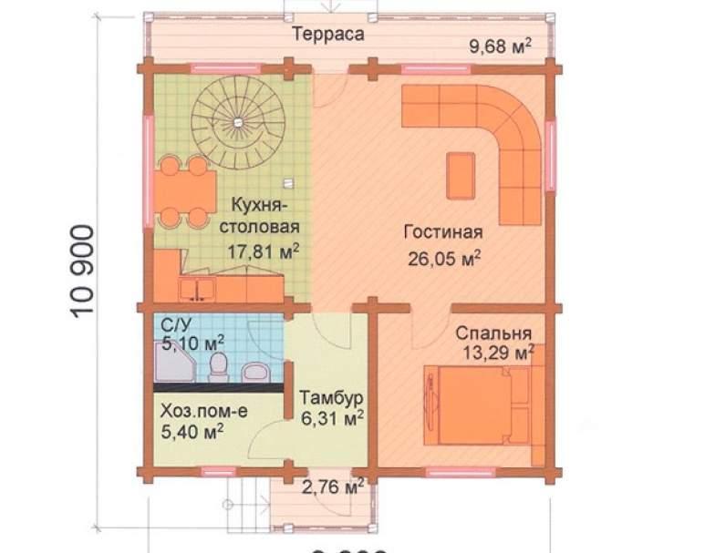 Деревянный коттедж ФАБ-112 (нажмите для увеличения)