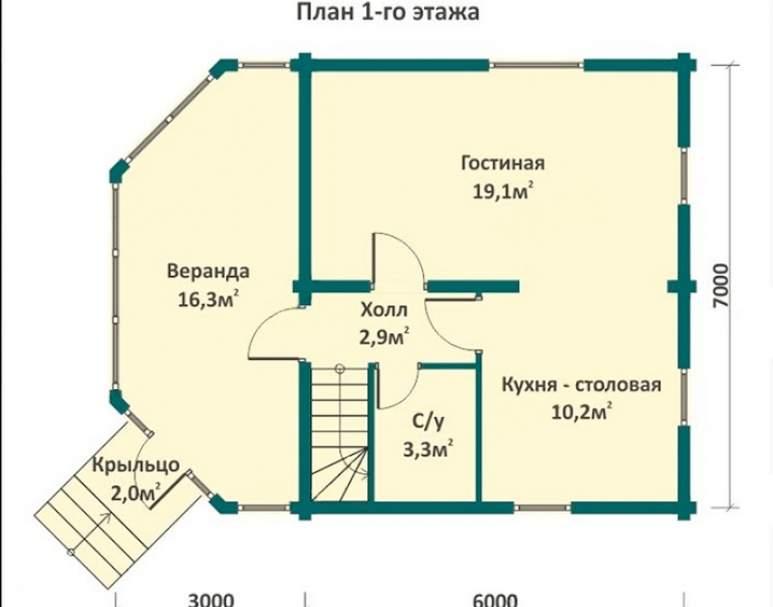 Деревянный коттедж ФАБ-104 (нажмите для увеличения)