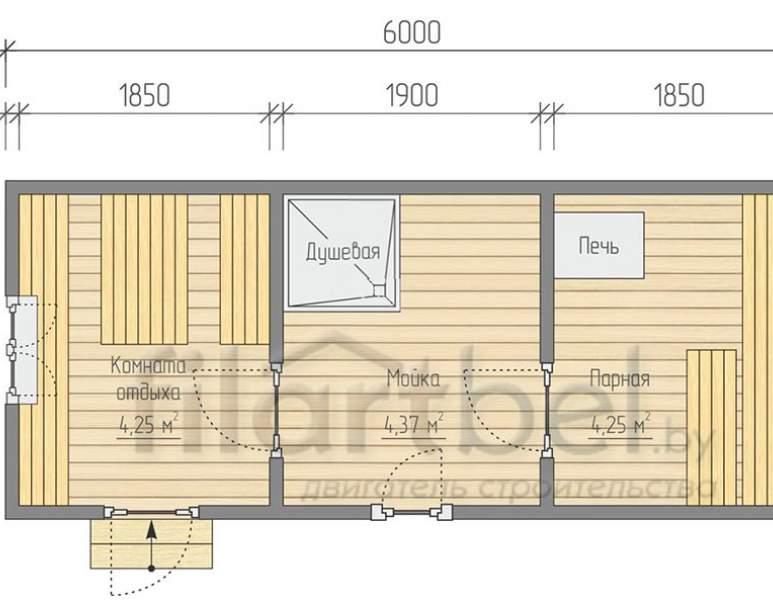 Готовая баня 6×2,23м. планировка (нажмите для увеличения)