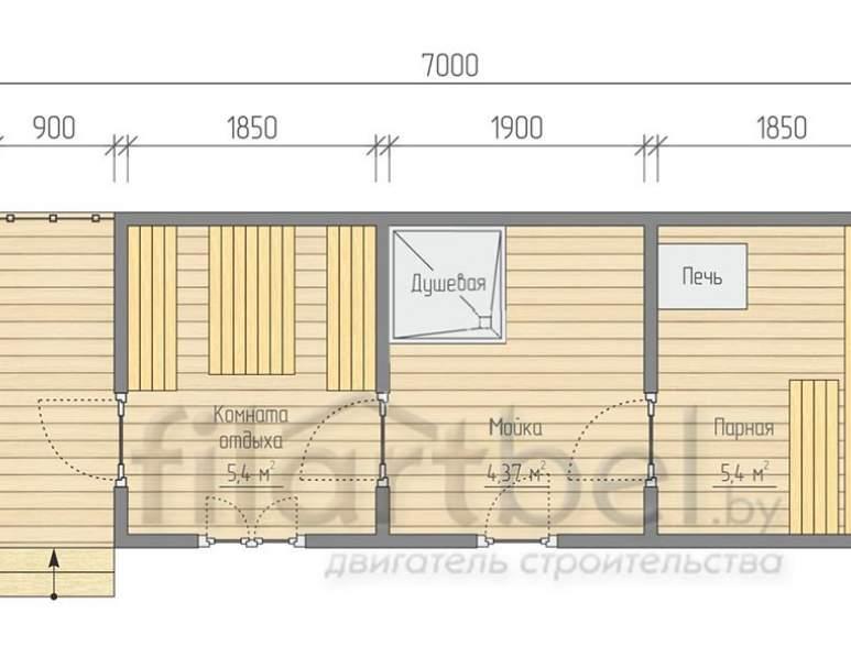 Готовая баня 7×2,23м. планировка (нажмите для увеличения)