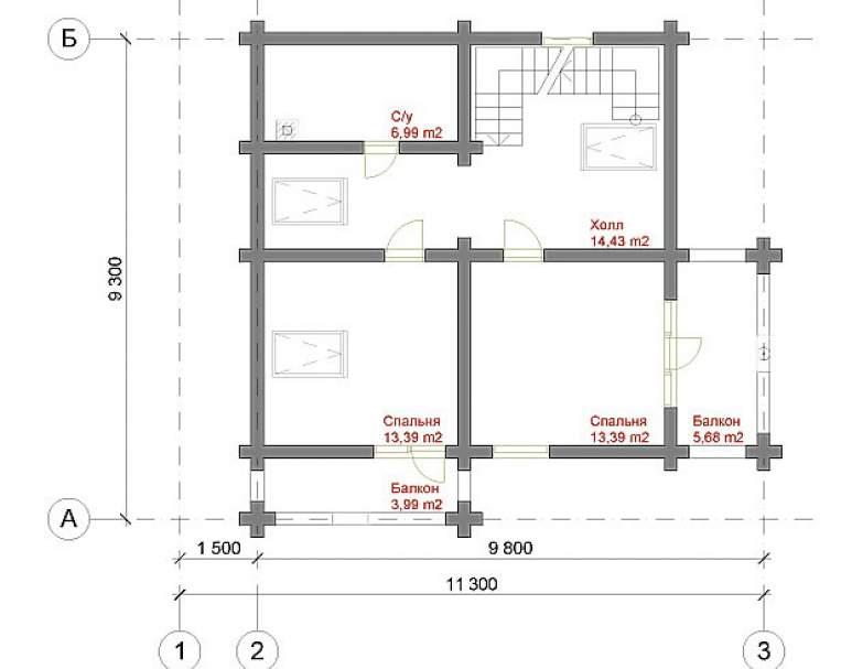 Дом из оцилиндрованного бруса ДК-128 (нажмите для увеличения)