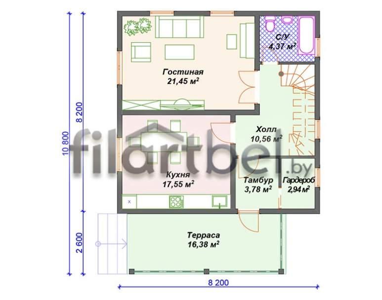 Каркасный дом КД-05 (нажмите для увеличения)