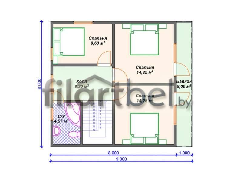 Каркасный дом КД-10 (нажмите для увеличения)
