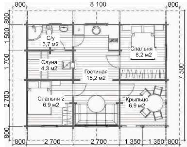 Летний дом с сауной ЛД-10 (8.1х7.5) (нажмите для увеличения)