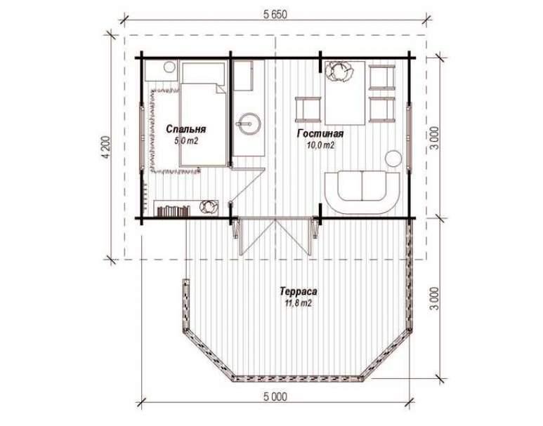 Летний домик ЛД-1(6х5) (нажмите для увеличения)