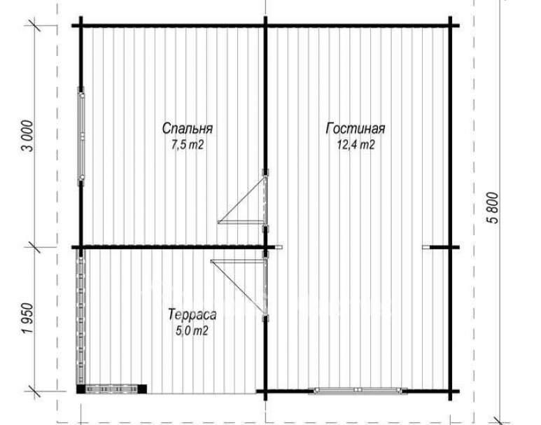 Летний дом ЛД-2 (5х5) (нажмите для увеличения)