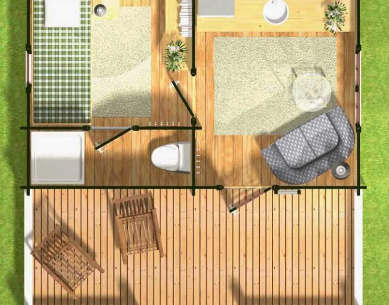Летний брусовой дом ЛД-3 (5х5) (нажмите для увеличения)