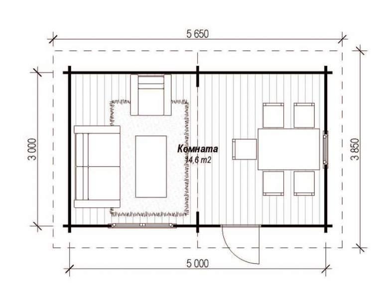 Летний деревянный дом ЛД-7 (3х5) (нажмите для увеличения)